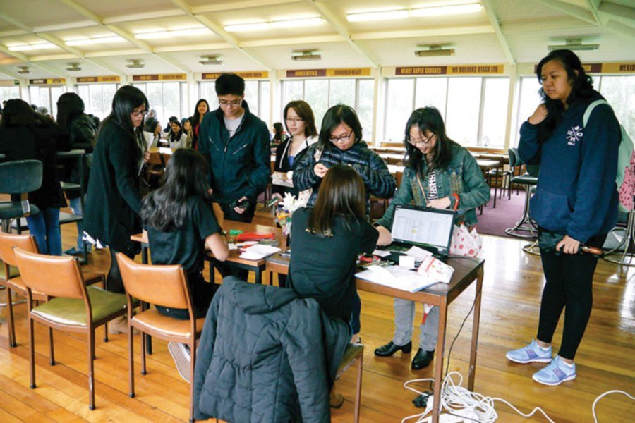 New students registering to join the Otago Malaysia Students' Association at the Otago University in Dunedin.