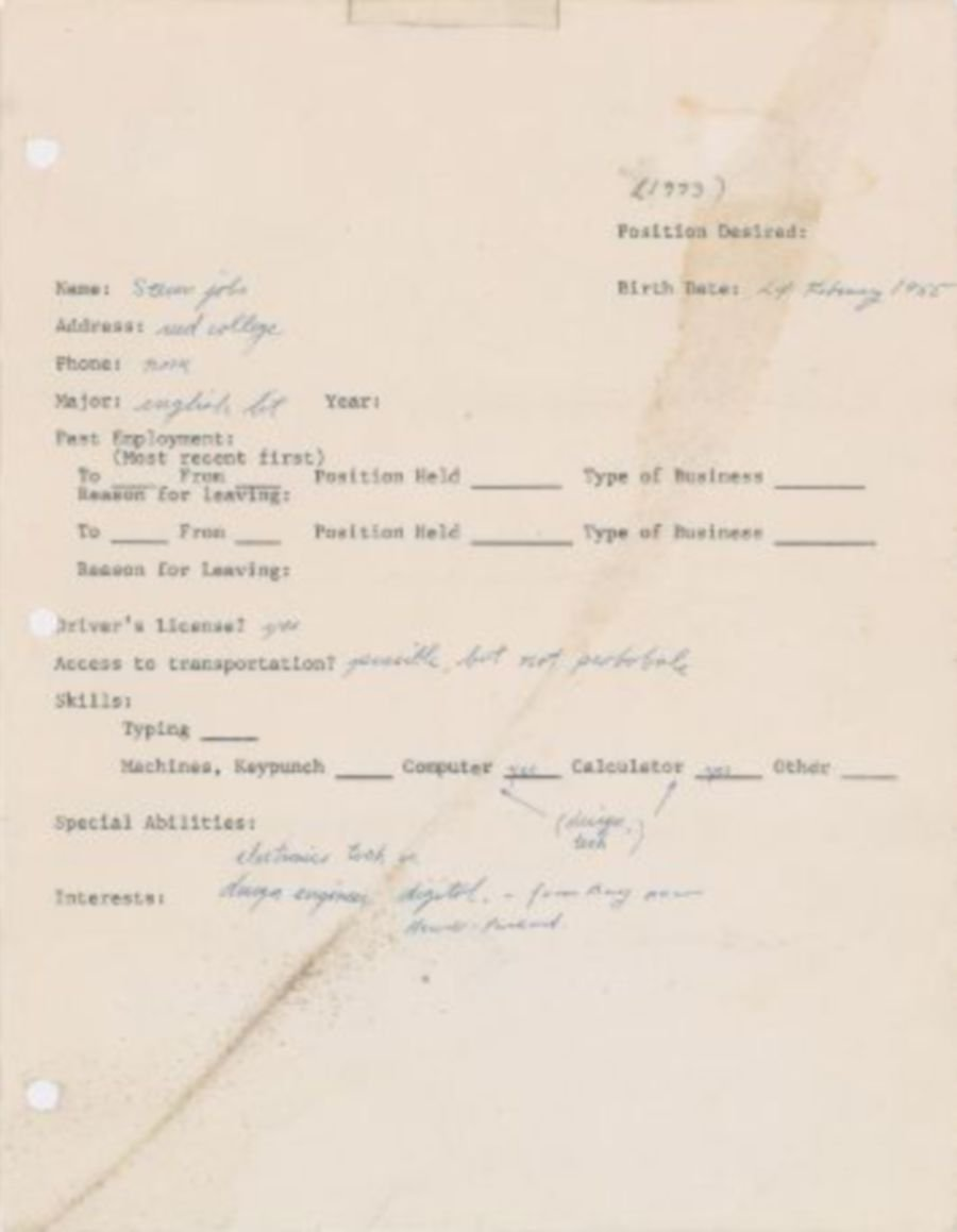 steve jobs 1973 pre apple job application fetches us 174k at auction