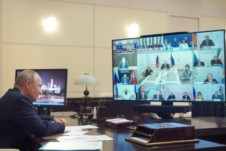 Russia's President Vladimir Putin looks on as he attends a video conference with the working group on amendments to the Russian constitution at the Novo-Ogaryovo residence, outside Moscow on July 3, 2020. - Russians approved controversial constitutional reforms that allow Vladimir Putin to extend his rule until 2036 after a nationwide vote from June 25 till July 1, 2020. (Photo by Alexei Druzhinin / Sputnik / AFP)