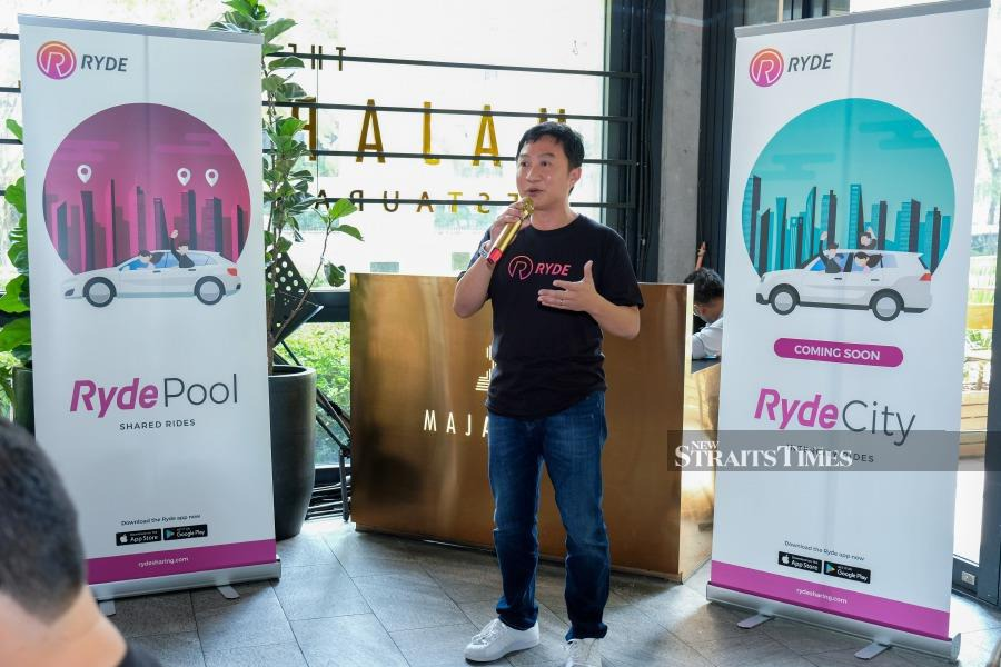 Terence Zou, Chief executive officer of Ryde Technologies speaks at the launch of the Ryde app in Malaysia recently.