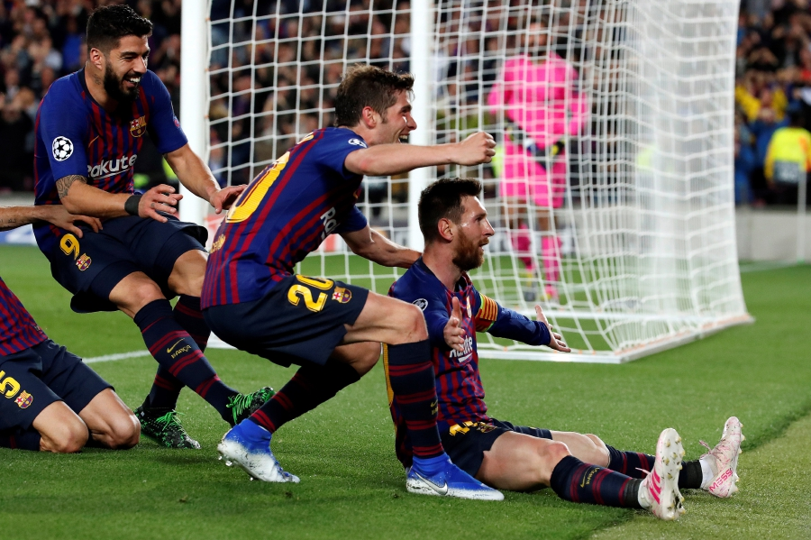 (File pix) Barcelona's forward Leo Messi (right) jubilates after scoring a goal during the UEFA Champions League first leg semifinal match between FC Barcelona and Liverpool in Barcelona, Catalonia, Spain, May 1, 2019. EPA Photo