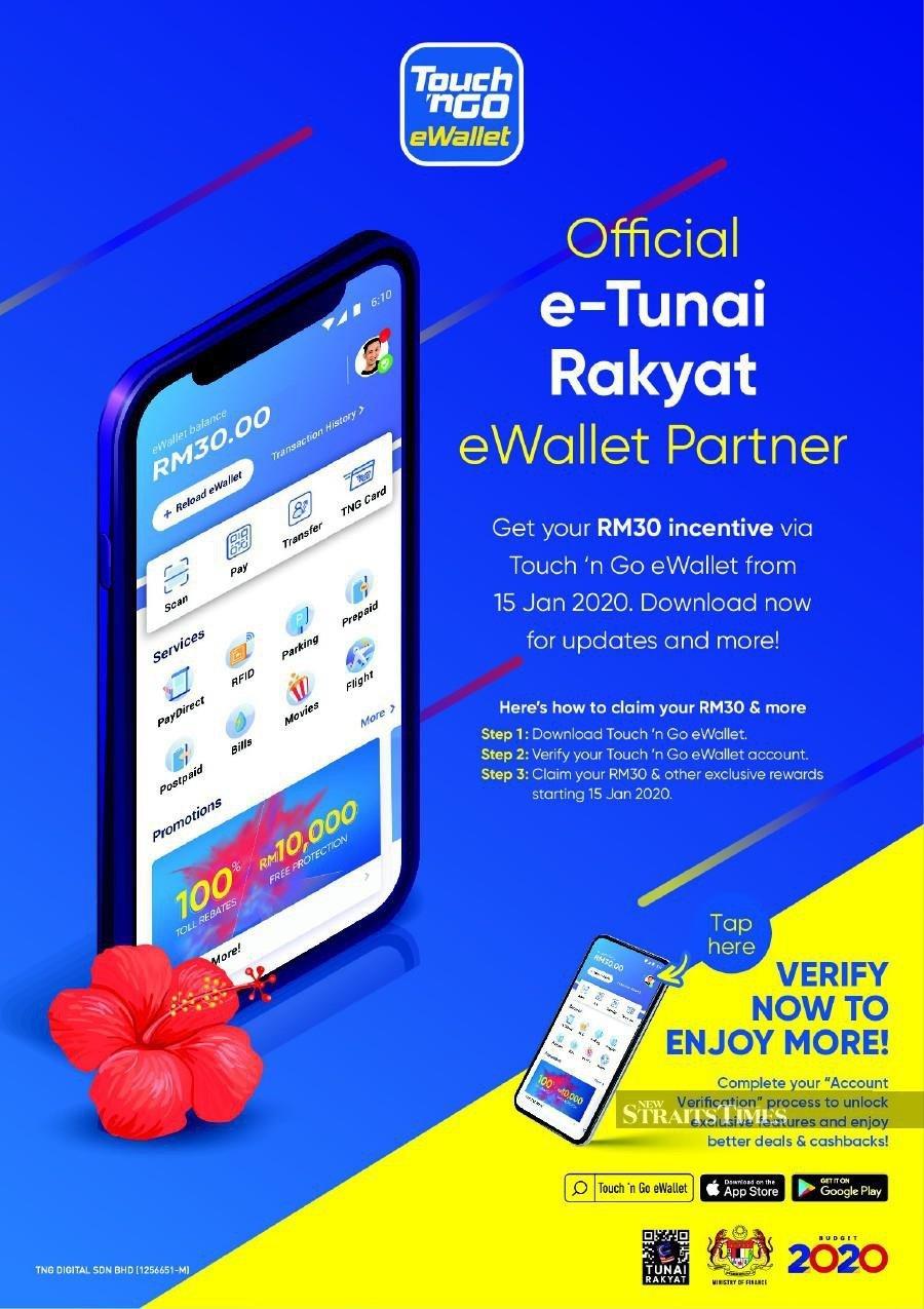 The public can claim e-Tunai Rakyat programme's RM30 via Touch 'n Go eWallet