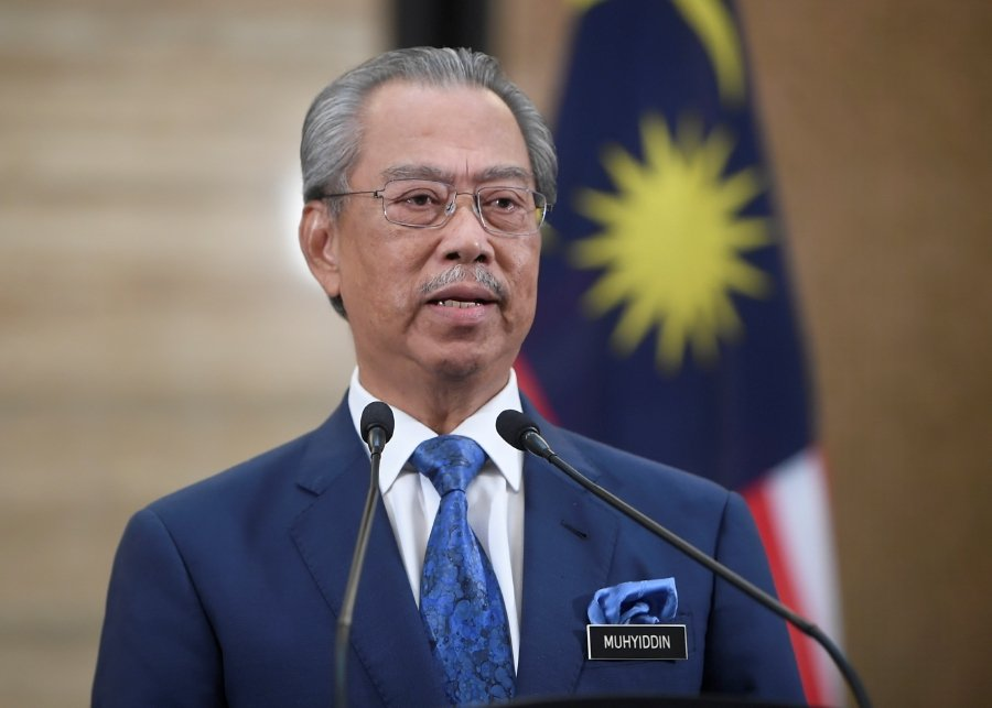 Prime Minister Tan Sri Muhyiddin Yassin speaking during Comprehensive People-centric Economic Stimulus Package totaling RM250 billion in Perdana Putra today. BERNAMA Pic