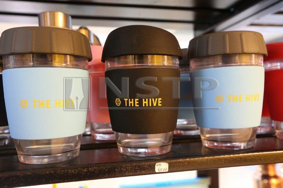 Reusable glass cups.