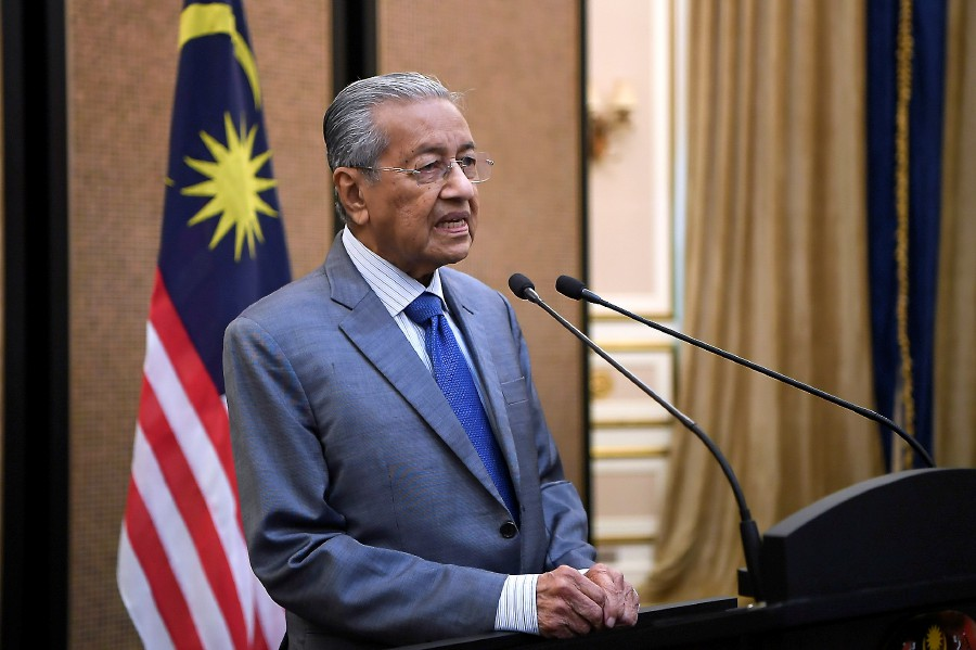 Tun Dr Mahathir Mohamad addressed the nation for the first time today since a political turmoil swept the country on Sunday. - Bernama pic