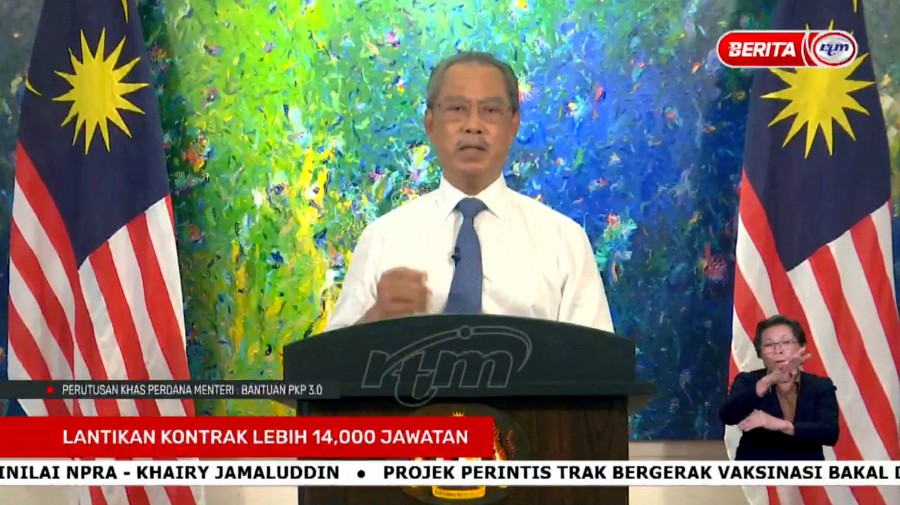 The government is rolling out a mammoth RM40 billion financial aid package to help the people as well as tackle the economic impact of the two-week total lockdown, which will come into effect tomorrow, as announced by Prime Minister Tan Sri Muhyiddin Yassin. - Pic courtesy of RTM