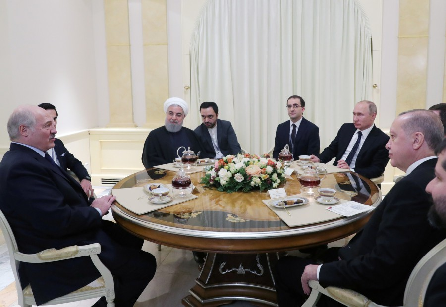 Turkish President Recep Tayyip Erdogan (R), Russian President Vladimir Putin (2-R), Iranian President Hassan Rouhani (5-R) and Belarus President Alexander Lukashenko (L) during an informal meeting in the Black sea resort of Sochi, Russia, 14 February 2019. Belarus President is on a working visit to Sochi from 13 to 15 February for Talks with Russian President Putin, and the leaders of Russia, Turkey and Iran held on 14 February their fourth trilateral meeting on Syrian peace settlement. EPA/MICHAEL KLIMENTYEV / SPUTNIK / KREMLIN