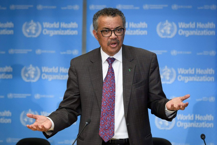 World Health Organization (WHO) Director-General Tedros Adhanom Ghebreyesus attends a daily press briefing on COVID-19, the novel coronavirus, at the WHO headquaters. -AFP pic