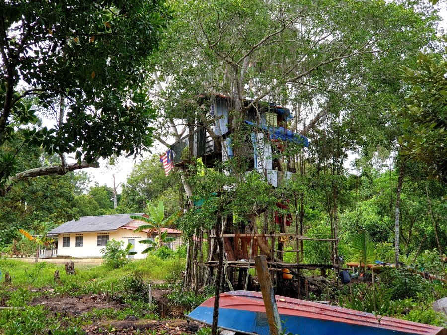 The partially hidden tree house that Abang Roslan spent a year to build.