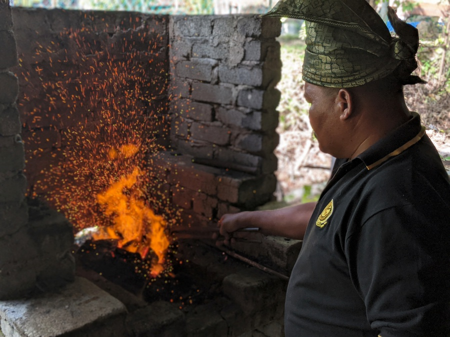 The red hot forge of a traditional Malay bladesmith at Kuala Kubu Bahru
