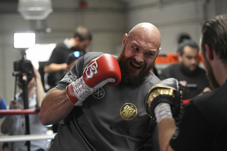 Lineal Heavyweight Champion Tyson Fury works out in front of Los Angeles media in advance of his highly anticipated WBC Heavyweight World Championship against undefeated WBC World Champion Deontay Wilder on December 1at Churchill Boxing Club on October 25, 2018 in Los Angeles, California AFP