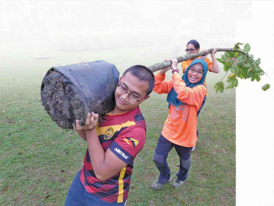 Volunteers support the Rimba Project's efforts to encourage conservation landscaping by planting rare and endangered local species in urban areas.