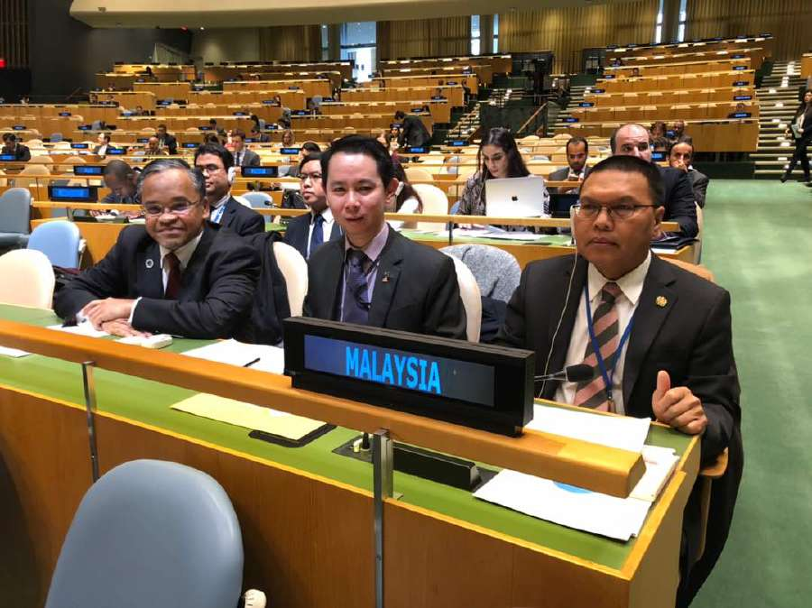 From the left GMMF Executive Chairman and Chief Executive Officer Datuk Dr. Nasharudin Mat Isa, Deputy Malaysian Permanent Representative to the UN Kennedy Mayong Onon and Malaysia's Permanent Representative to the UN Datuk Seri Mohd Shahrul Ikram Yaakob at the world body. Courtesy pix