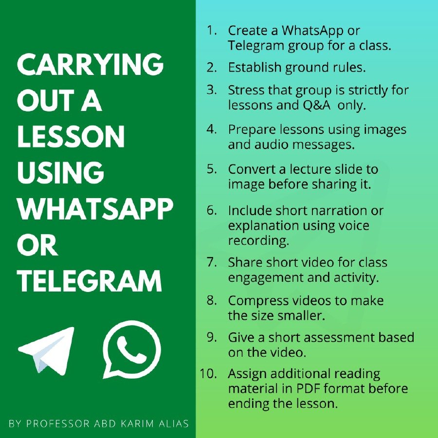 Ten steps to deliver lessons using WhatsApp or Telegram.