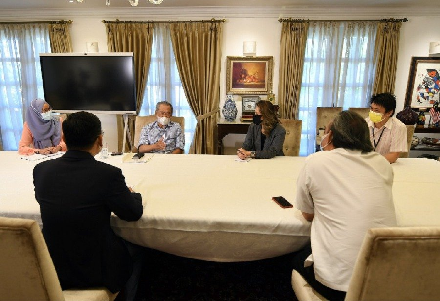 PM Tan Sri Muhyiddin Yassin during a special interview with senior news editors at his house yesterday. - Pic courtesy of PMO