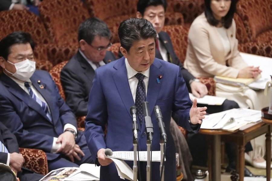 Japanese Prime Minister Shinzo Abe addresses Parliament in Tokyo. -AFP pic