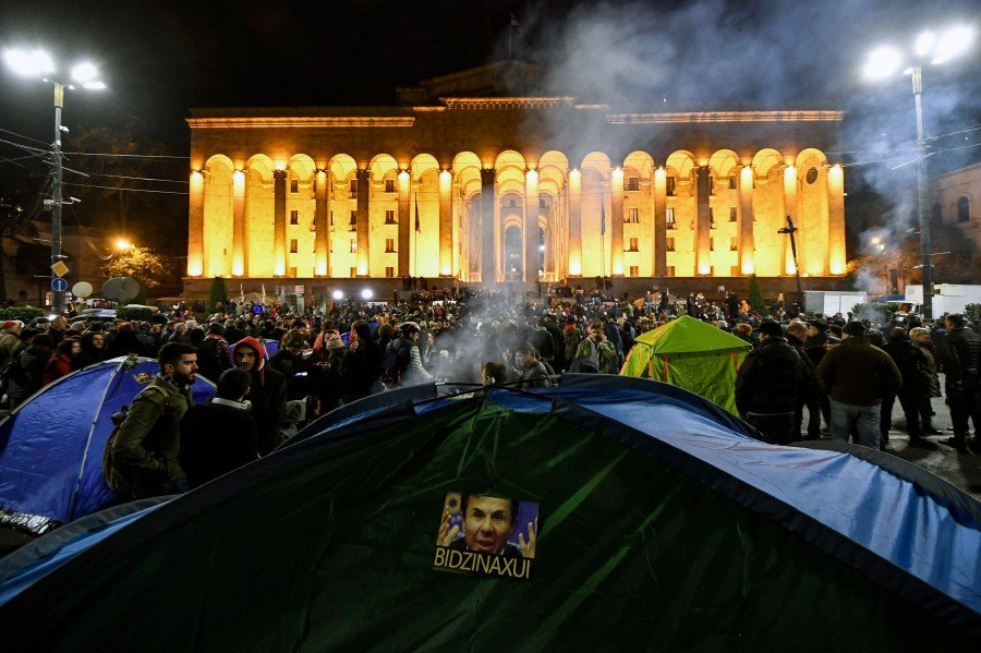 In Tbilisi, protesters blocked the Parliament