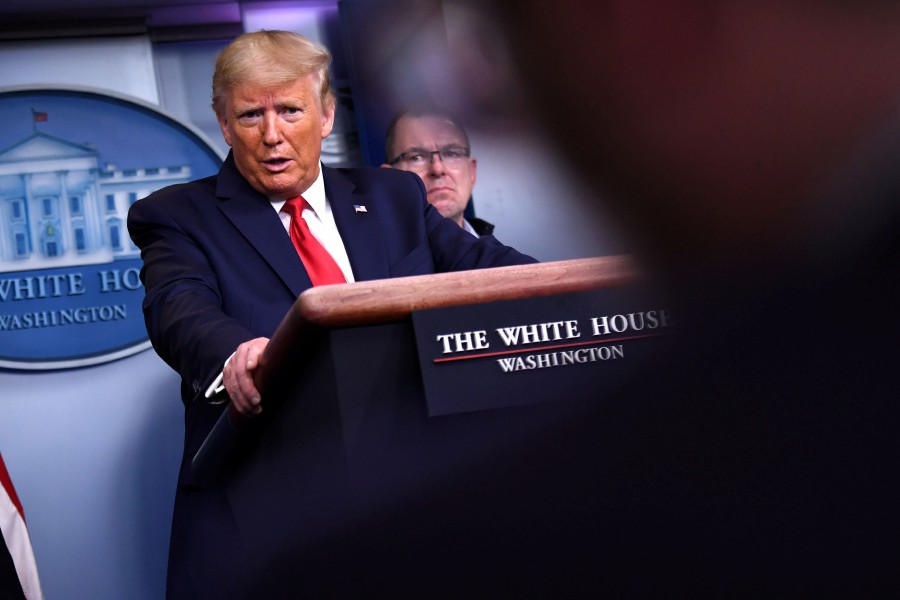 US President Donald Trump speaks during the daily briefing on the novel coronavirus, COVID-19, at the White House. - AFP pic