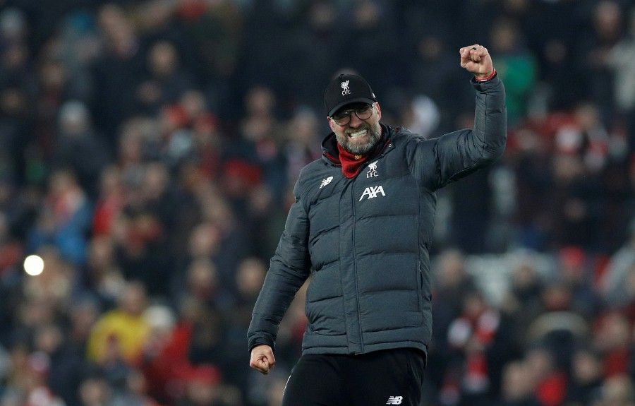 Liverpool manager Jurgen Klopp celebrates at the end of the match. -Reuters