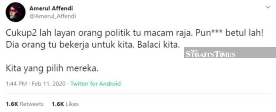 Amerul's tweet