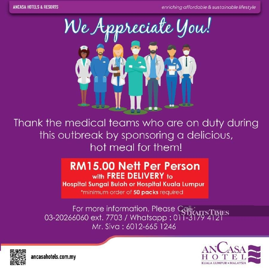 The Ancasa Hotel KL team is ready to deliver the lunch packs to Hospital Sungai Buloh and Hospital Kuala Lumpur