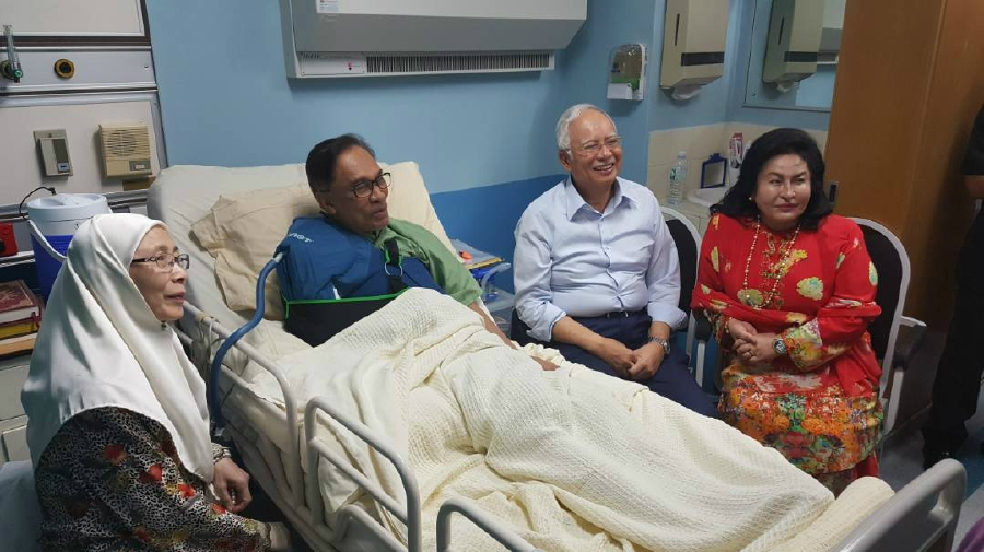 Image result for Najib and Rosmah visit Anwar Ibrahim in hospital