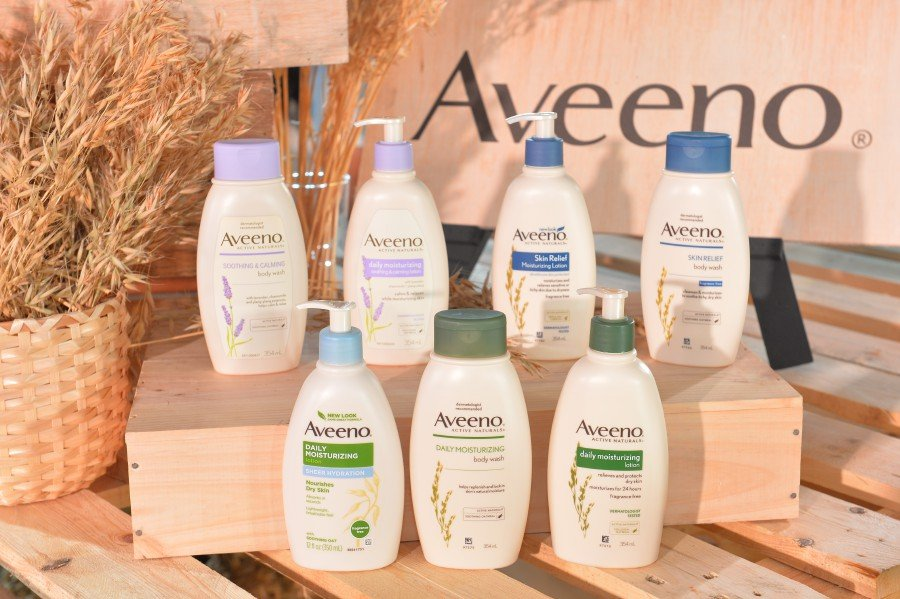 A wide range of products by Aveeno.
