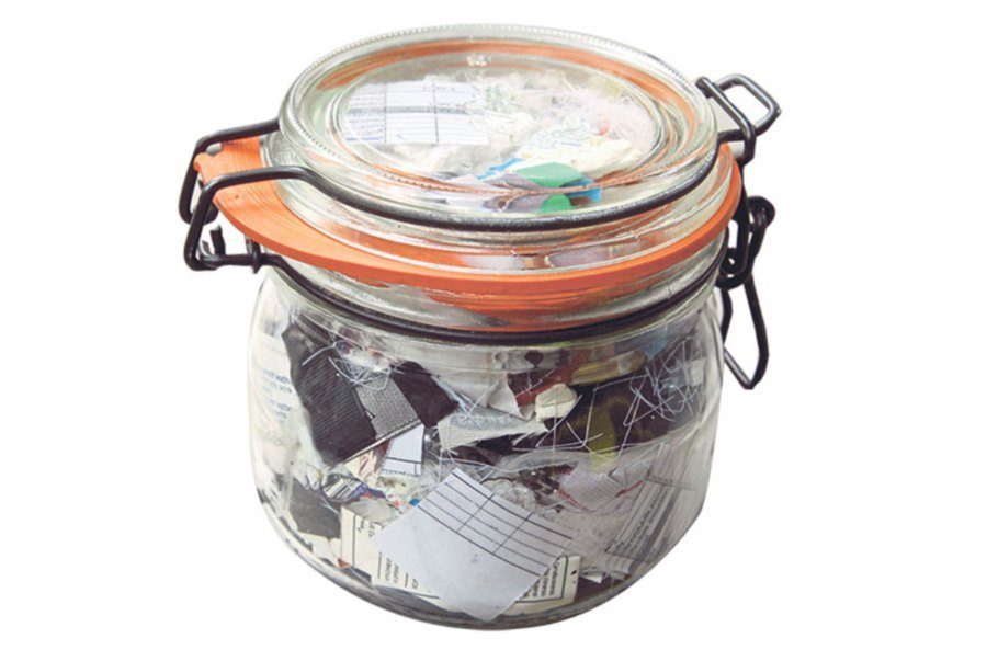 Her family's waste in a year fits into this small mason jar.