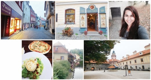 Clockwise from above: Some of the restaurants by the Vltava River; The cobblestoned Old Town and its delightful little shops; One of the shops selling locally made products; The writer at Cesky Castle's garden; The Cesky Palace courtyard; The goat cheese salad and margherita pizza. Pix by Fazlynn Nadira Azrul Raj