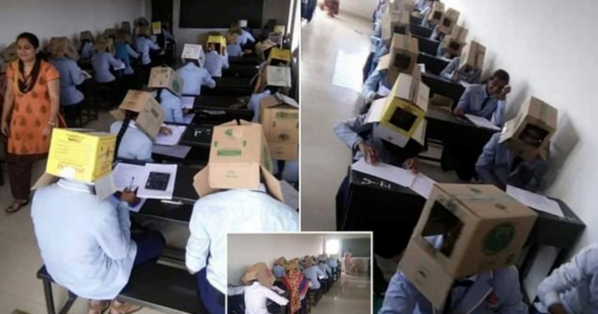 College makes students wear boxes on their heads to prevent cheating during exam