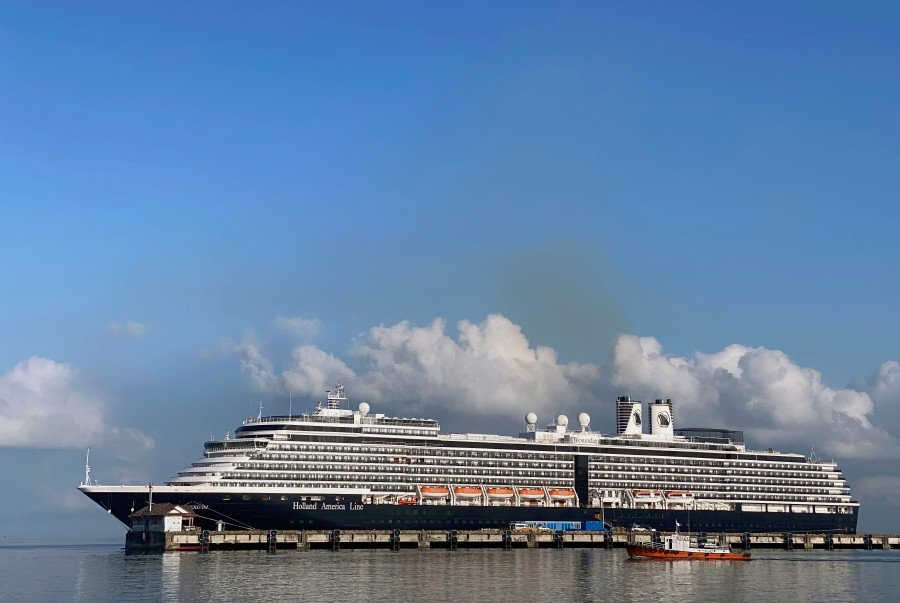 The cruise ship MS Westerdam at dock in the Cambodian port of Sihanoukville, Cambodia on February 16. -Reuters