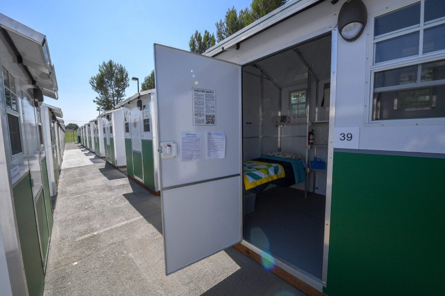 A view of housing units at the Tarzana Tiny Home Village which offers temporary housing for homeless people. -- AFP
