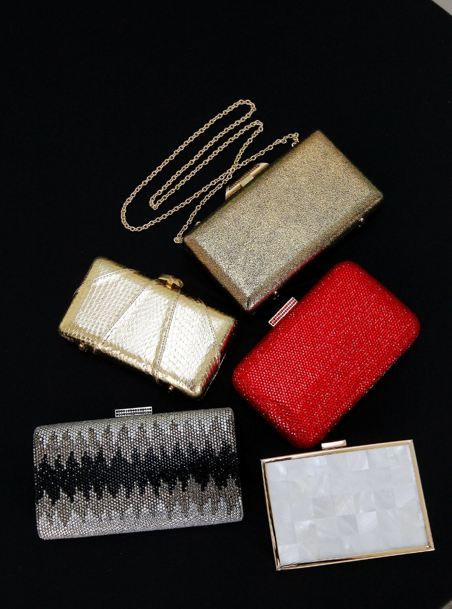 Clutches of various colours and designs