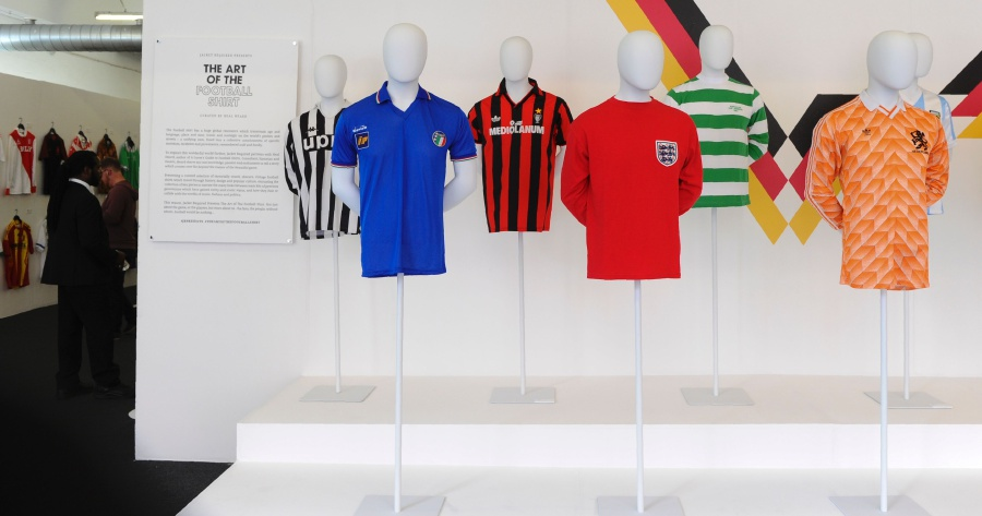 0721630a1 (Left to right) Football shirts from Juventus, Italy from the 80s, AC  Milan, England away shirt from 1966, Celtic and Netherlands from 1988, ...