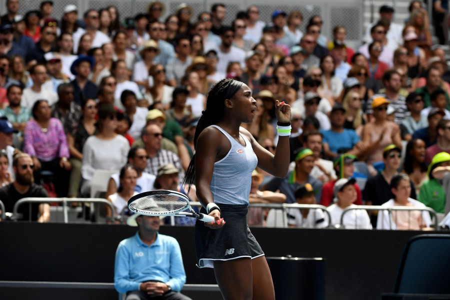 Coco Gauff of the US reacts after a point against Sofia Kenin of the US during their women's singles match on day seven of the Australian Open tennis tournament in Melbourne. -AFP
