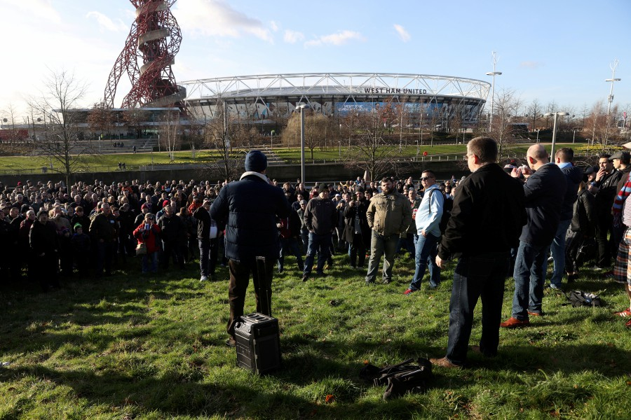 West Ham United fans during a protest outside the stadium before the match. -- Pix: Reuter