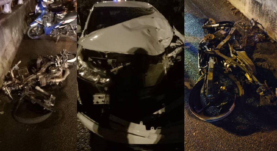 Police have obtained a four day remand order against an intoxicated female car driver, who rear-ended a motorcycle. -NSTP/Courtesy of police