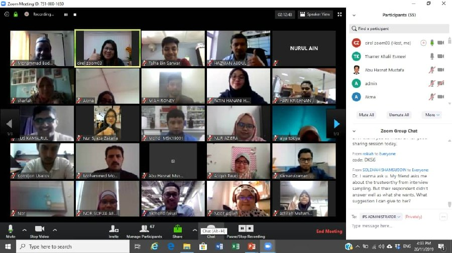 Universiti Malaysia Pahang's Faculty of Industrial Management head of programme (entrepreneurship) Dr Diyana Kamaruddin Research Methodology conducting a Zoom session with students.