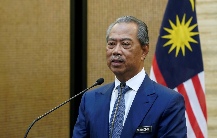 Prime Minister Tan Sri Muhyiddin Yassin delivering his special speech aired live on all television channels and social media platform on March 2. - BERNAMA pic