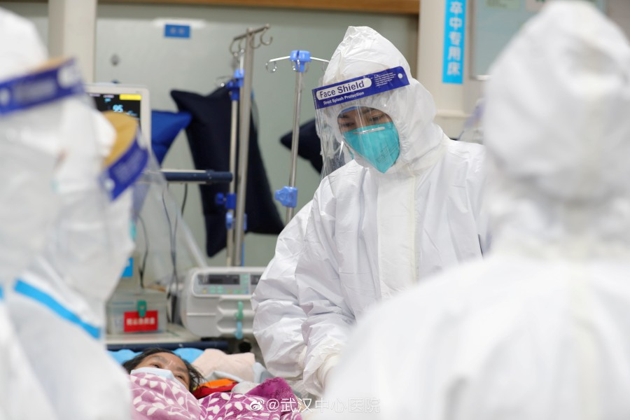Medical staff attend to patients at the Central Hospital of Wuhan in Wuhan, China. Nepal reported its first coronavirus case. - The Central Hospital of Wuhan via Weibo /via Reuters