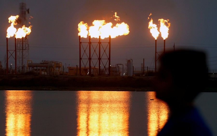 Brent crude futures soared to a high of US$70.74 a barrel and was at US$69.36 by 1502 GMT, up 76 cents from Friday's settlement. - Reuters