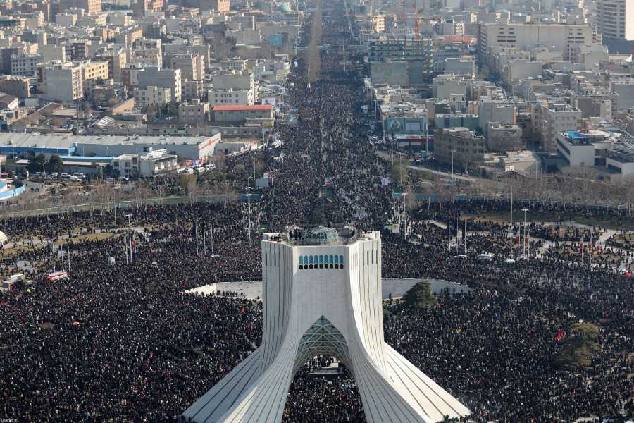 A handout picture provided by the office of Iran's Supreme Leader Ayatollah Ali Khamenei on January 6, 2020 shows Iranian mourners taking part in a funeral procession in Tehran for slain Iranian general Qasem Soleimani. -AFP/HO/KHAMENEI.IR