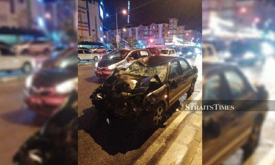 The Proton Wira that was involved in the accident. (NSTP/Courtesy of a reader)