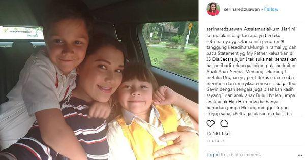 #Showbiz: Serina Redzuawan accuses ex-hubby of 'khalwat,' wants custody of kids