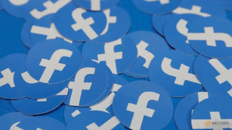 Stickers bearing the Facebook logo are pictured at Facebook Inc's F8 developers conference in San Jose, California, US on Apr 30, 2019. (Photo: Reuters/Stephen Lam)