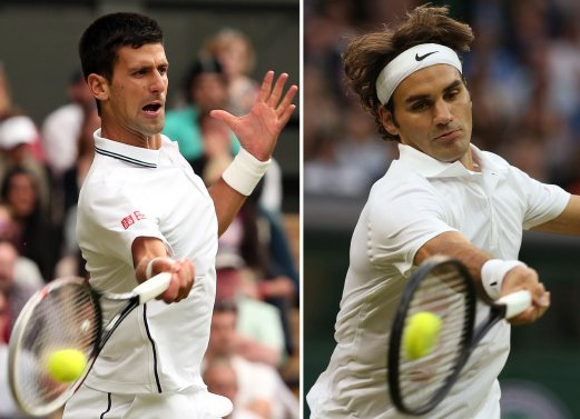 A combination of photographs shows Serbia's Novak Djokovic (L) and Roger Federer. Djokovic takes on seven-time Wimbledon champion Roger Federer in the men's singles final in the 2014 Wimbledon Championships. AFP PHOTO