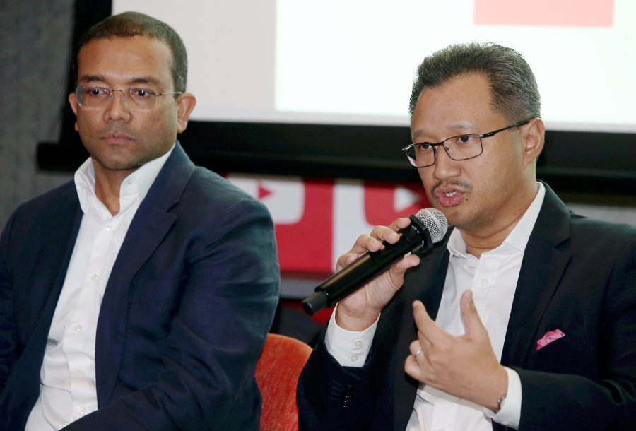 Media Prima Bhd group managing director Datuk Kamal Khalid (right) says the group is expanding its digital presence and the collaboration would strengthen its position as the largest digital media group in Malaysia. NSTP picture by MOHD YUSNI ARIFFIN.