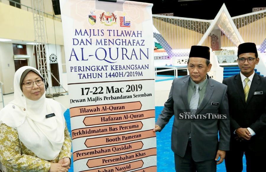 Deputy Minister in the Prime Minister's Department Fuziah Salleh (left) with Negri Sembilan Menteri Besar Aminuddin Harun during the pre-launch of the 1440H/2019 National Tilawah Al-Quran at the Seremban Municipal Council hall. NSTP/HASRIYASYAH SABUDIN.