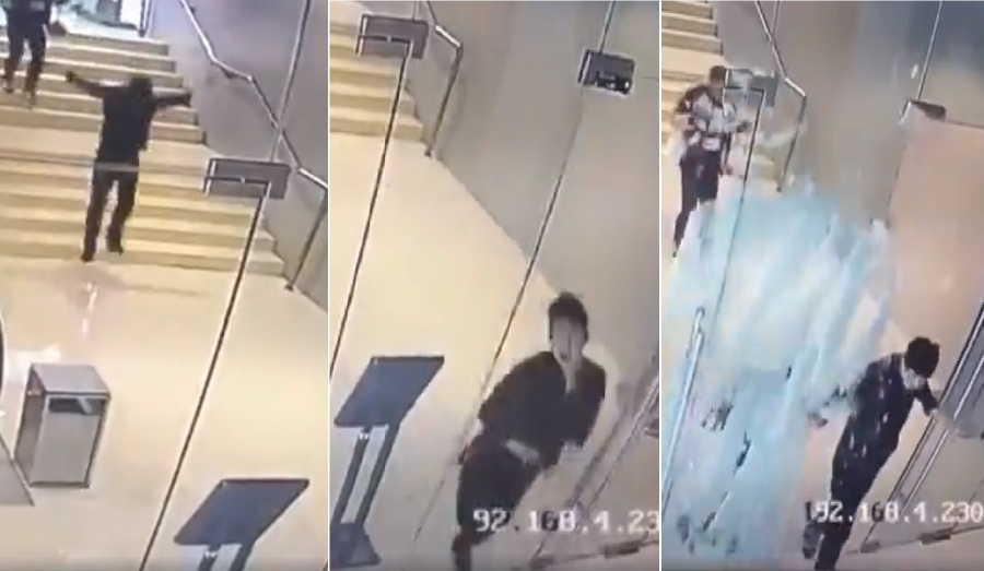 Watch malls glass door shatters after overly excited man runs face a recent video clip which has gone viral on social media shows a grown man skipping and lunging boyishly towards the side entrance of a shopping centre at planetlyrics Choice Image