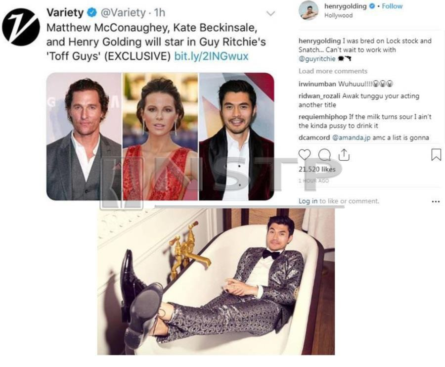 "Malaysian actor Henry Golding is certainly lighting up Hollywood with his ""Midas touch"" and living up to his aureate surname. (Pic of Twitter)"